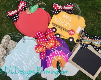 Teacher door hanger classroom decor apple, chalkboard, rainbow, school bus
