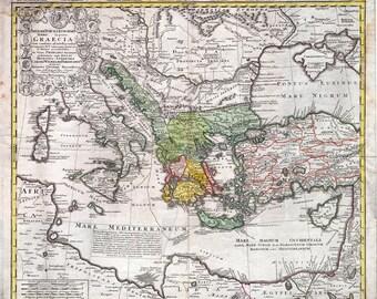 Antique map of Greek Empire, 1741, old map,art deco, vintage decor, fine art print