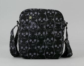 Black Skulls Small Crossbody Bag, Zipper Closure, Punk Rock, Goth, Womens Mens, Fabric Crossbody with Pockets, Dark Gray