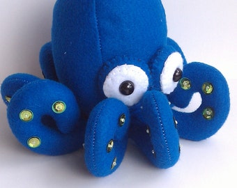 Stuffed Octopus plush toy blue with green suckers