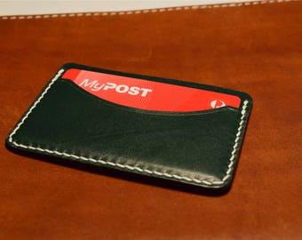 Vintage Green Kangaroo Leather Card Wallet, Slim Card Wallet, Leather Card Wallet, Personalised