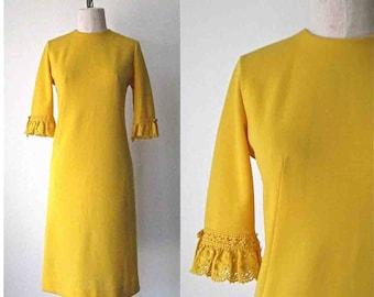 Jonathan Logan mod robe années 1960 jaune d'or au crochet manche - S/M