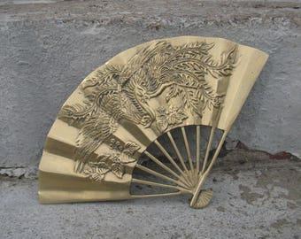 solid brass oriental dragon fan asian wall decor chinoiserie brass wall decor