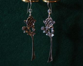 Long Stem Rose - Sterling Silver Dangle Earrings