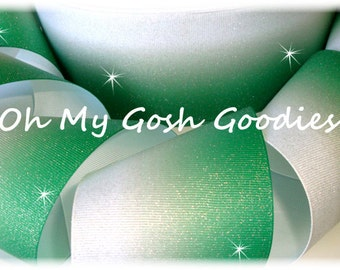 """GLITTER EMERALD Green OMBRE Cheer Grosgrain Ribbon Hairbow Supplies - 3"""" Width - 5 Yards - Oh My Gosh Goodies"""
