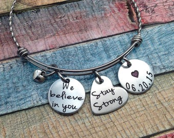 Sobriety Gift, Sobriety Jewelry, NA, AA, One day at a time, Sobriety, Addiction Recovery Jewelry, Sobriety Date Bangle Bracelet