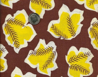 Vintage Novelty  FEEDSACK Flour Sack  Cotton Fabric -  Sunshine Yellow Leaves on Brown Backgroud - 36 x 44