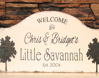 CUSTOM GARDEN sign,  shabby custom Welcome sign, personalized porch sign, rustic cottage sign, house name signc