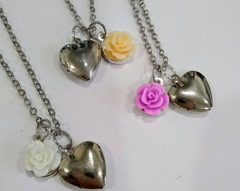 Rose Charm Heart Locket