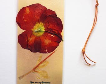Fiery red ranuncula pressed flower bookmark for Valentine's Day