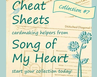 Cheat Sheets Collection #7: Instant Digital Download cardmaking tutorials, sketches, rubber stamping, complete instructions & measurements