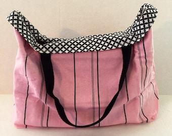Large linen shopping bag, reversible grocery bag, reusable shopping tote, washable beach bag