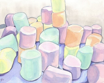 Pastel Candy Watercolor Painting - Marshmallows Art - Watercolor Art Print, 5x7