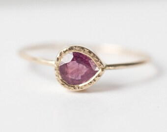 Ruby ring, tear drop ring, 14k gold ring, Ruby Engagement ring, Gemstone ring, Anniversary gift, July birthstone, gift for her