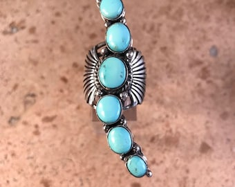 Genevieve James Pilot Mountain Turquoise & Sterling Statement Ring Sz 8 Signed