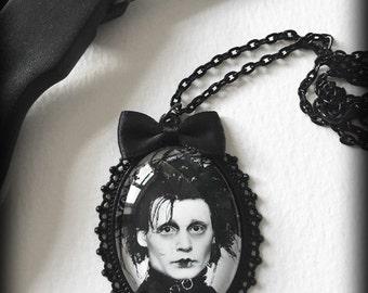 Edward Scissorhands Necklace, Gothic Pendant, Glass Cameo, Gothic Jewelry, Tim Burton, Johnny Depp, Movie Jewelry, Handmade Gift For Her