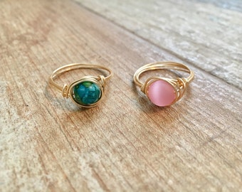 Handmade Blue/Green/Pink/Seafoam Gold Wire Wrapped Ring