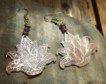 Lotus flower earrings, Amethyst, aged, antique, rustic, yoga, zen, meditation