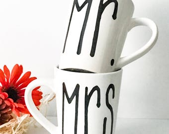 Mr. and Mrs., 14oz coffee mug set, coffee mug, coffee cup, his and hers, wedding gift, engagement, couple gift, gifts for him, gifts for her