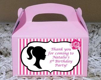 SALE! 12+ Labels Or Boxes & Labels 12 Barbie Treat Boxes, Barbie Gable Boxes, Barbie Party Boxes , Barbie Stickers  LOGO