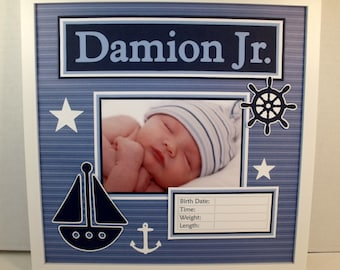 Baby Boy Nautical Sailing Themed Photo Keepsake  - Blue and White Sail Boat - Personalized 12x12 Frame Included