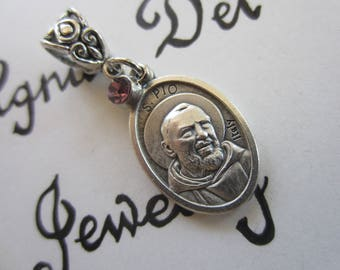 St Padre Pio Medal & Lavender Glass Charm Pendant, Patron Saint for Pray Hope Don't Worry - Suffering - Pain - Healing, Religious Gift