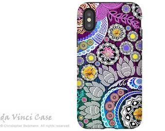 Purple and Green Paisley iPhone X Tough Case - Dual Layer Protection - Mehndi Garden - Boho Paisley iPhone 10 Case by Da Vinci Case