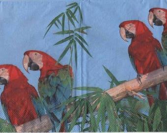 3154 -Lot 3 Serviettes en papier perroquets sur branche