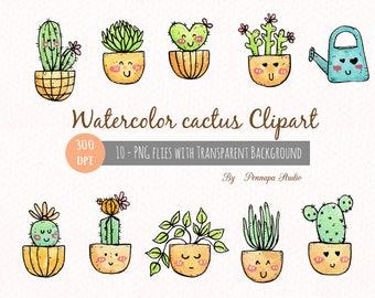 Hand painted watercolor cactus, digital clipart, 300 dpi