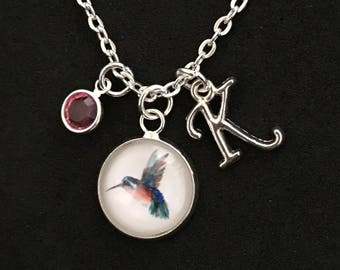Personalized Hummingbird Necklace Hummingbird Jewelry