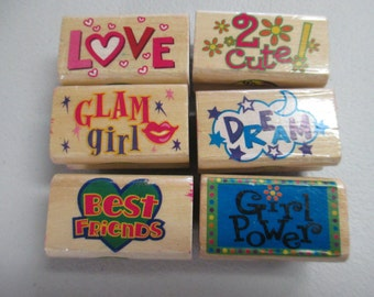 Wood mounted cool rubber stamps for teenagers set of 6 stamps used barely used.