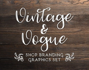 Rustic Wood Shop Branding Banners, Avatar Icons, Business Card, Logo Label + More - 13 Premade Graphics Files - VINTAGE & VOGUE