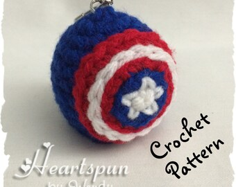 CROCHET PATTERN to make a Captain America EOS Lip Balm Holder, Pdf Format, Instant Download.