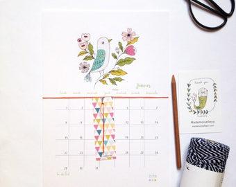 Calendrier 2018, calendrier mural 2018, calendrier 2018 avec un tableau - format A4 - calendrier 2018 à suspendre avec un ruban