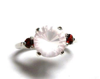 "Quartz ring, blush quartz ring, garnet accent ring,  3 stone ring, pink red, anniversary ring s 6 3/4   ""Calming blush"""
