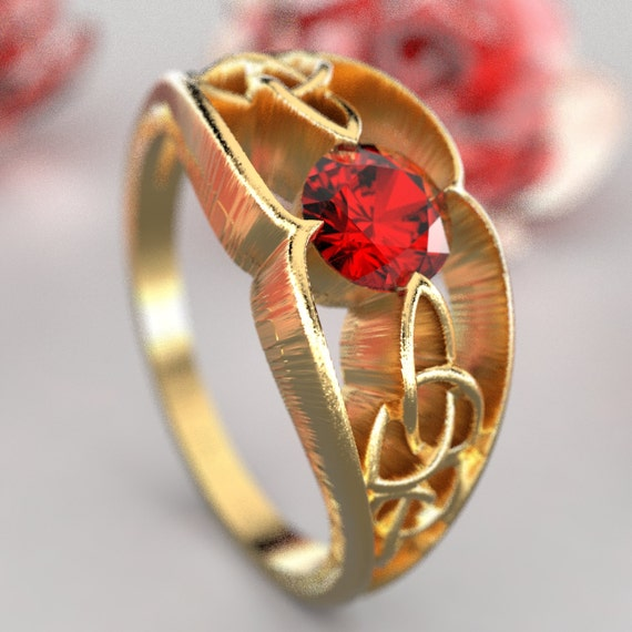 Gold Celtic Wedding Ring With Trinity Knot Design With Ruby Stone in 10K 14K 18K or Palladium, Made in Your Size Cr-1048