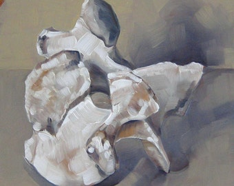 "Bone Painting, Still Life, Oil Painting, Original Art, Vertebrae in Muted Hues, Gift for Him or Her - ""Appropriate Vertebrae"""