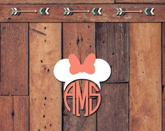 Minnie Mouse Ears Monogram Decal | Yeti Decal | Yeti Sticker | Tumbler Decal | Car Decal | Vinyl Decal