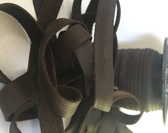 """3/8"""" (10mm) Flat Leather Deertan Lace - 50 ft Spool - Chocolate Brown"""