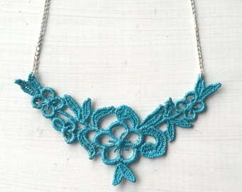 Blue Flower Lace Necklace