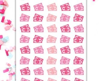 Pink Dollar Bills Planning Stickers