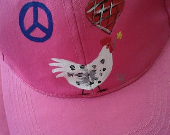 Peace, Love, Chickens! Hand-painted hat, OSFM, FREE SHIPPING!