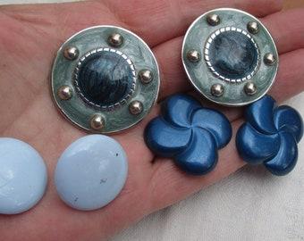 Lot Of Retro Blue Earrings Pierced Clip On Repair Repurpose