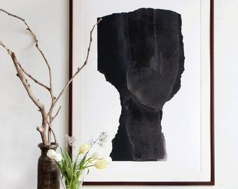 Large Scale Art Print, Abstract Minimalist Painting, Black Art Portrait, Big Poster Man Face
