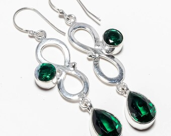 Chrome Diopside Gemstone Handmade Jewelry Earrings 2.73""