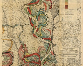 Mississippi River, Harold Fisk Maps, P22 Sheet 13, Mississippi River Meander Belt, Mississippi Meander Belt, Meander Belt, River Mississippi