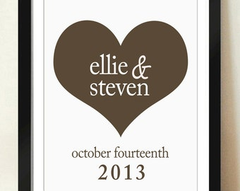 Digital Download Wedding Personalized Custom Large Heart Gift Anniversary Monogram 8x10 - 11x14