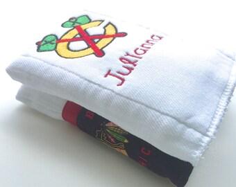 Chicago,Blackhawks, Hockey, Personalized burp cloths, baby burp cloth, Personalized baby gift,