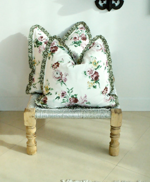 Pair indian print throw pillows country shabby chic gorgeous for Il fico d india rural chic