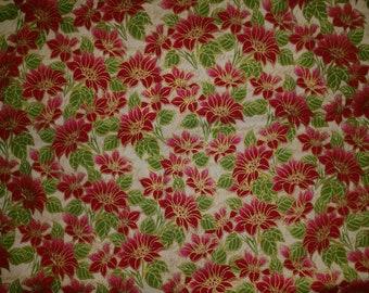 Yuletide Metallic Poinsettia on Cream Fabric - by the Yard